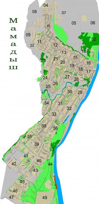 Карта Мамадыша с улицами