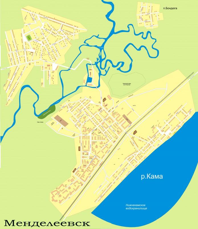 Карта Менделеевска с улицами