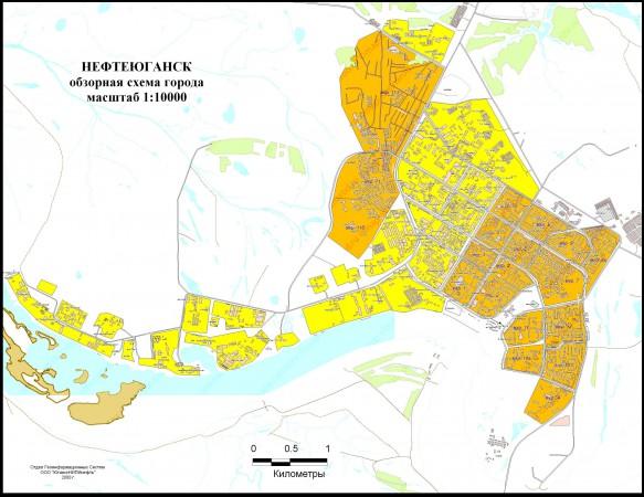 Карта Нефтеюганска с улицами
