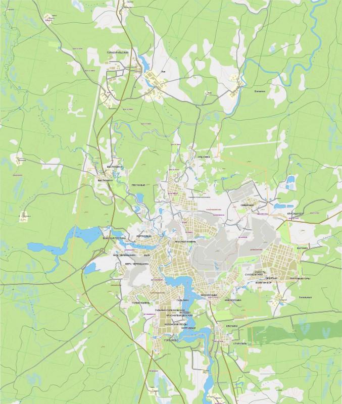 Карта Нижнего Тагила с улицами