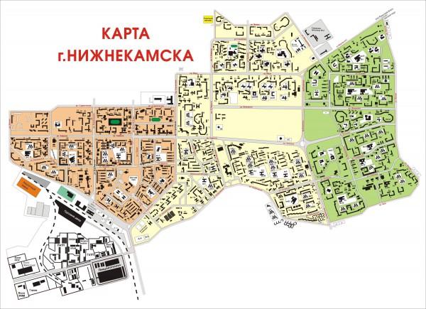 Карта Нижнекамска с улицами