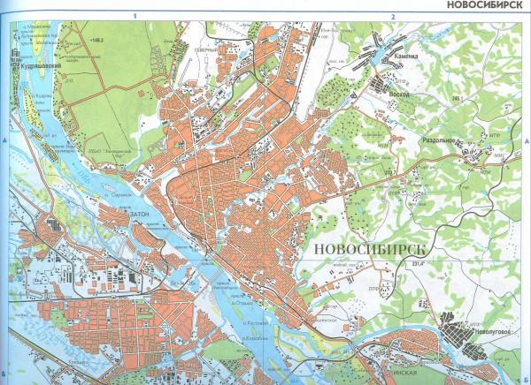 Карта Новосибирска с улицами