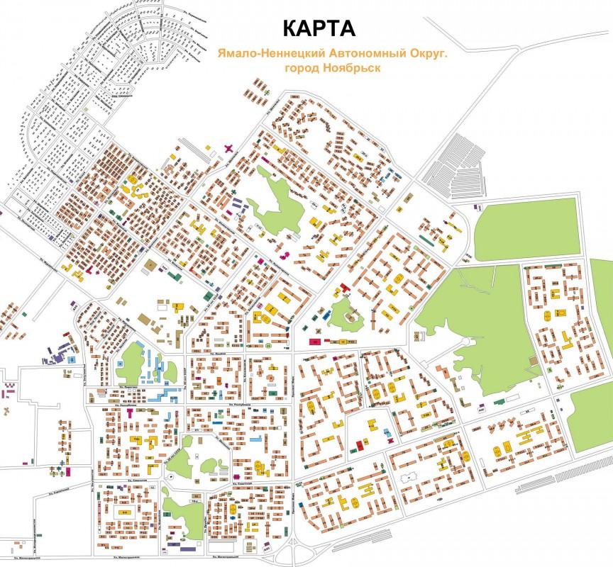 Карта Ноябрьска с улицами