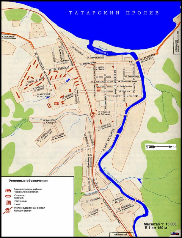 Карта Томари с улицами