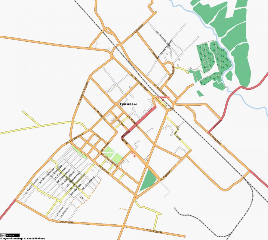 Карта Туймазы с улицами
