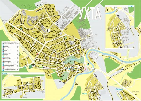 Карта Ухты с улицами