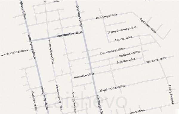Карта Лаишево с улицами
