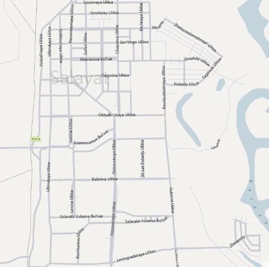 Карта Салавата с улицами