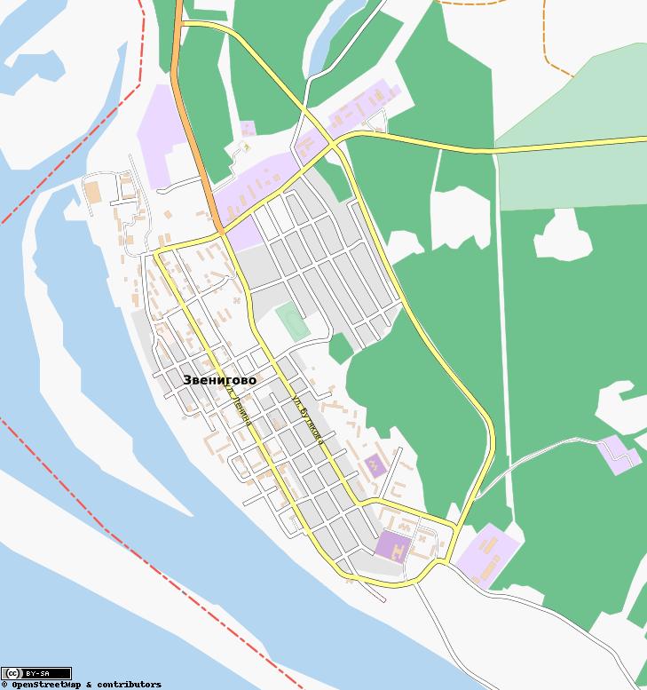 Карта Звенигово с улицами