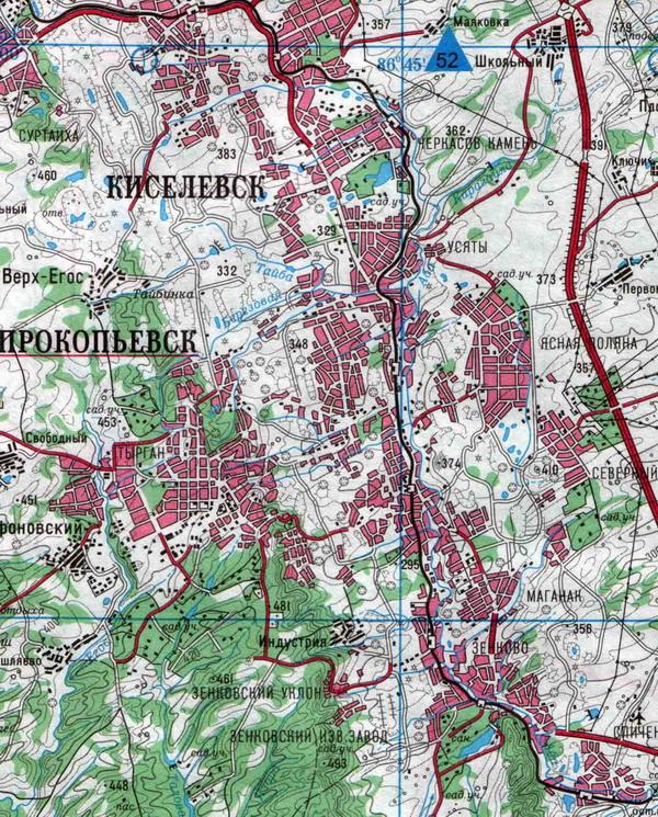 Карта Киселёвска с улицами. Номера домов