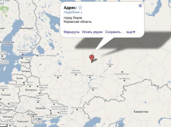 Киров на карте России