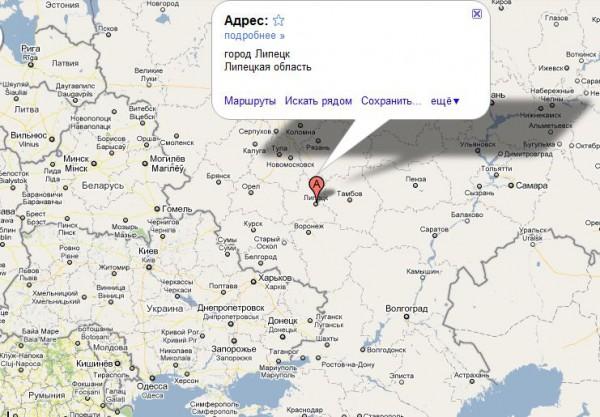 Липецк на карте России