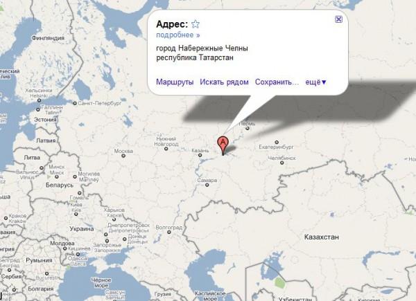 Набережные Челны на карте России