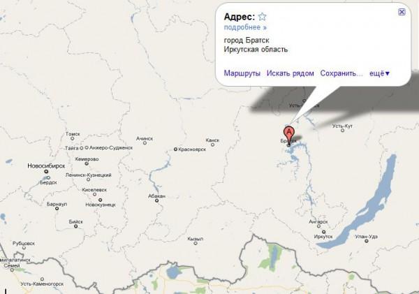Братск на карте России