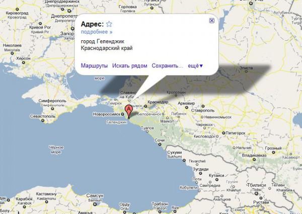 Геленджик на карте России