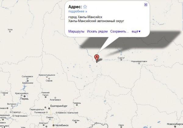 Ханты-Мансийск на карте России