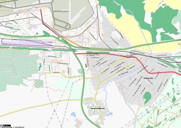 Карта города Обь с улицами