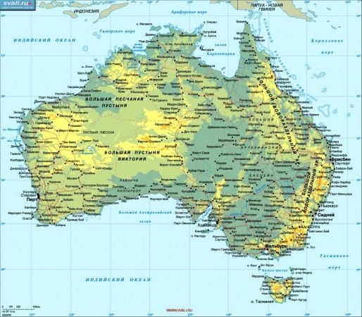 Карта Австралии географическая