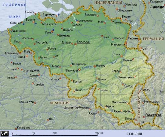 Карта Бельгии на русском