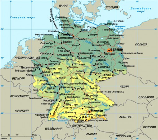 Карта Германии на русском языке подробная
