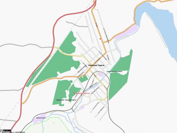 Карта города Нижние Серги с улицами