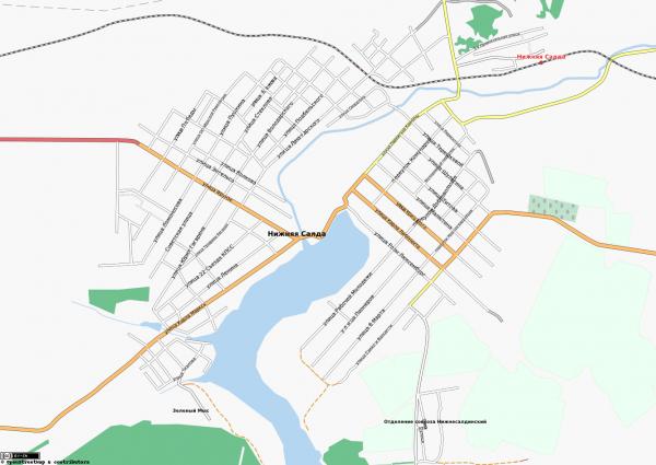 Карта города Нижняя Салда с улицами