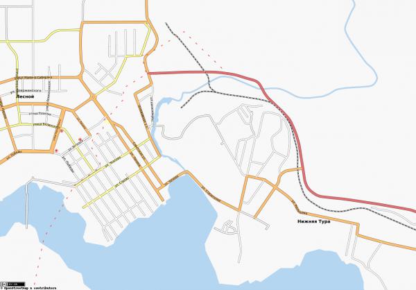 Карта города Нижняя Тура с улицами