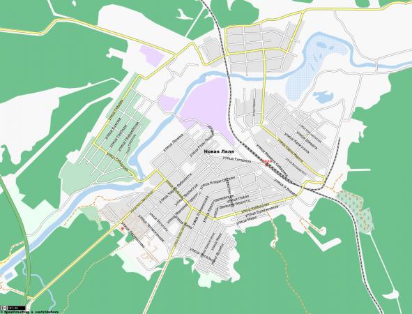 Карта города Новая Ляля с улицами