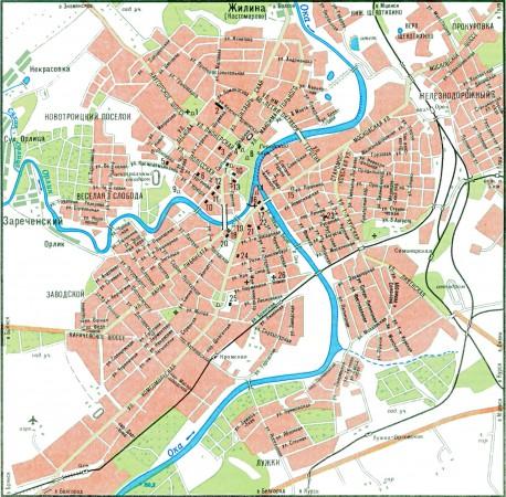 Город Орел на карте России