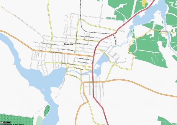 Карта города Сысерть с улицами