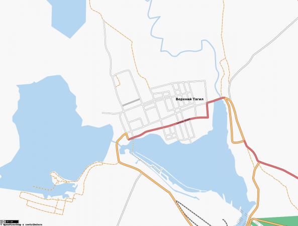 Карта города Верхний Тагил с улицами