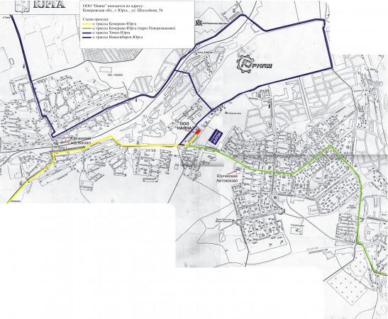Карта Юрги с улицами