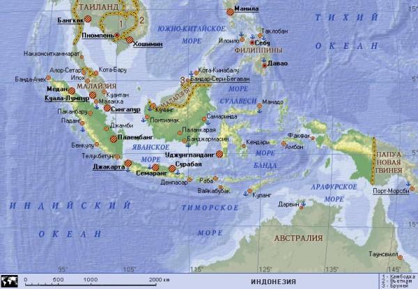 Карта Индонезии на русском языке