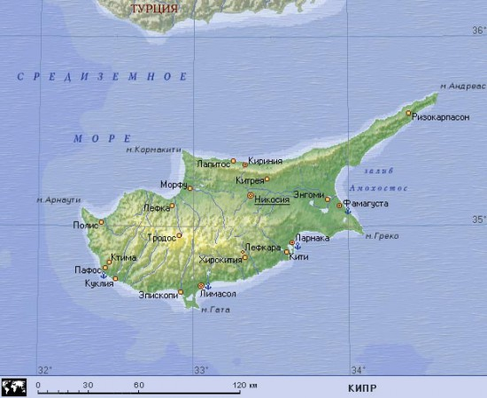 Карта Кипра на русском языке