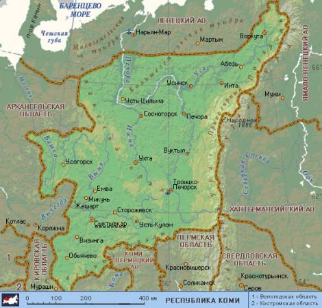 Коми на карте России