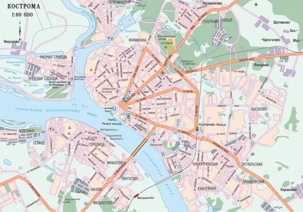Кострома на карте России