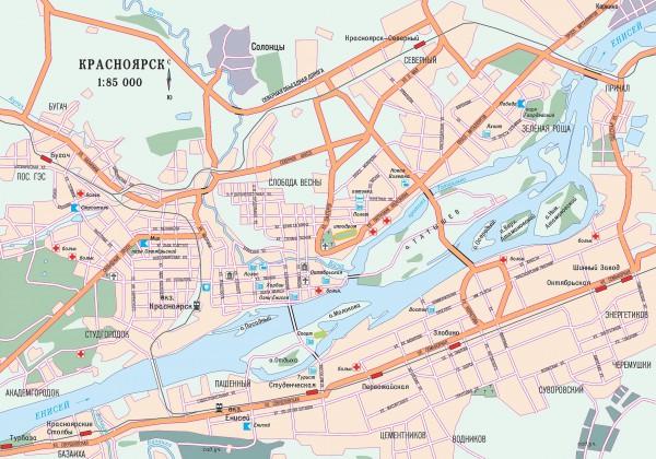 Красноярск на карте России