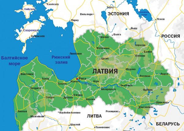 Карта Латвии на русском языке