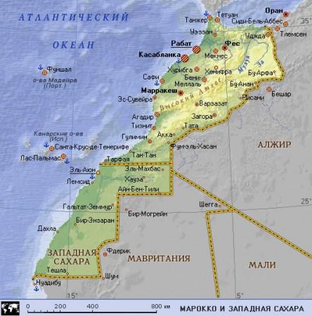 Карта Марокко на русском