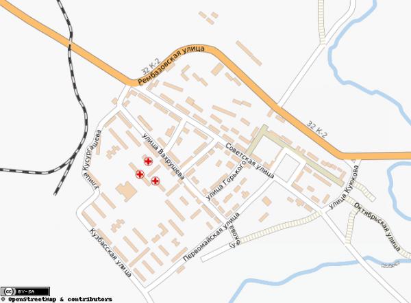 Карта города Мыски с улицами схематичная