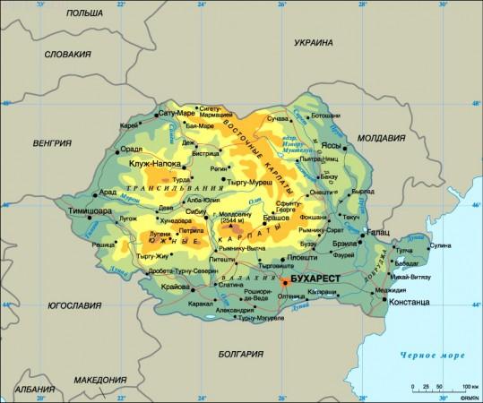 Карта Румынии на русском языке