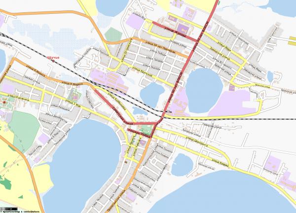 Карта Щучье с улицами схематичная