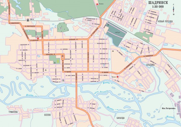 Карта Шадринска с улицами