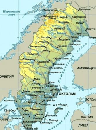 Карта Швеции на русском языке