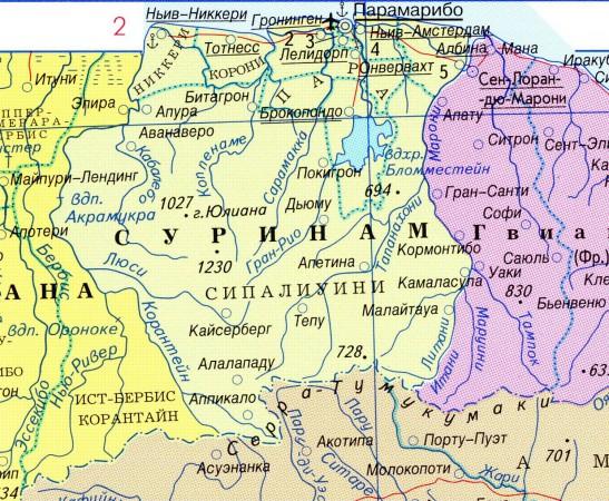 карта Суринам