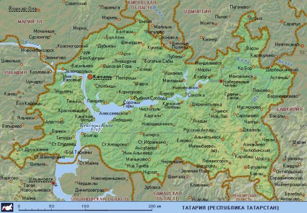 Татарстан на карте России