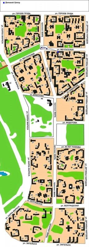 Карта Усть-Илимска с улицами