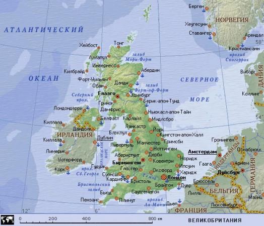 Карта Великобритании на русском