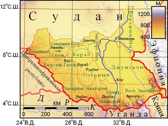 карта Южного Судана