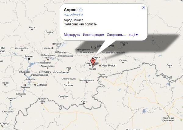 Миасс на карте России